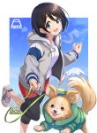 1girl animal black_hair blue_eyes chihuahua chikuwa_(yurucamp) clothed_animal commentary copyright_name day dog hood hoodie leash leggings mirai_denki mount_fuji outdoors round_teeth running saitou_ena shoes short_hair sky sneakers teeth tongue tongue_out yurucamp