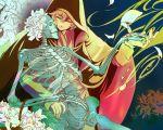 1boy abstract bone brown_hair cloak closed_eyes flower harukanaru_toki_no_naka_de harukanaru_toki_no_naka_de_3 holding holding_bone hood hood_up hooded_cloak japanese_clothes kimono male_focus musashibou_benkei_(harukanaru_3) skeleton skull so-desune solo white_flower
