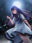1girl bangs black_ribbon chaamii dress dress_lift dutch_angle empty_x_embryo floating_hair from_below full_moon highres himukai_momiji long_hair looking_at_viewer moon night outdoors parted_lips purple_hair red_eyes ribbon ribbon-trimmed_sleeves ribbon_trim shiny shiny_hair short_sleeves signature solo standing very_long_hair white_dress wind wind_lift