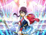 bow_(weapon) brown_eyes glasses hoshimi_junna jacket long_hair purple_hair shoujo_kageki_revue_starlight