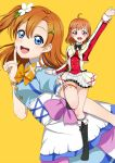 2girls bow bowtie color_connection cosplay costume_switch greetload highres kimi_no_kokoro_wa_kagayaiteru_kai? kousaka_honoka love_live! love_live!_school_idol_project love_live!_sunshine!! multiple_girls orange_hair simple_background sore_wa_bokutachi_no_kiseki takami_chika trait_connection