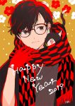 1boy 2019 adjusting_scarf amamiya_ren animal animal_on_shoulder black_eyes black_hair cat closed_mouth flower_(symbol) glasses gloves happy_new_year japanese_clothes kimono male_focus morgana_(persona_5) new_year persona persona_5 red_gloves scarf upper_body yagasuri yasuu!