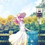 1girl arm_up armpits bag blonde_hair blue_sky blurry blurry_background bus_stop closed_mouth dress flower hand_on_headwear hat highres looking_to_the_side medium_hair niandni original red_eyes shadow sky sleeveless sleeveless_dress standing straw_hat sunflower tree waiting white_dress white_neckwear wing_collar