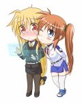 2girls blonde_hair blue_eyes blush chibi embarrassed fate_testarossa kerorokjy long_hair lyrical_nanoha mahou_shoujo_lyrical_nanoha mahou_shoujo_lyrical_nanoha_strikers mahou_shoujo_lyrical_nanoha_vivid military military_uniform multiple_girls orange_hair red_eyes side_ponytail simple_background surprised takamachi_nanoha uniform very_long_hair white_background yuri