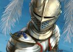 1other ambiguous_gender armor bishoujo_senshi_sailor_moon breastplate full_armor helmet knight korean_commentary looking_at_viewer meme moon_print original pirata_(gailtonatiu) plate_armor plume sailor_moon_redraw_challenge shoulder_armor signature solo