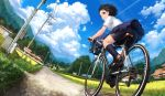 1girl ass bag bicycle bicycle_basket bike_shorts black_hair black_shorts blue_skirt blue_sky brown_eyes brown_footwear clouds cloudy_sky commentary_request condensation_trail day dutch_angle field fisheye grin ground_vehicle house lamppost lif loafers mountainous_horizon original outdoors pleated_skirt power_lines riding road rural school_uniform shirt shoes short_hair short_sleeves shorts skirt sky smile solo white_shirt
