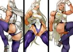 1girl absurdres animal_ears arm_up ass boku_no_hero_academia breasts brown_eyes bunny_girl bunny_tail clenched_hands fighting_stance gloves hand_on_hip highres leg_up legs_apart leotard long_hair looking_at_viewer medium_breasts mirko muscle muscular_female pose purple_legwear purple_leotard rabbit_ears simple_background smile solo standing standing_on_one_leg tail thick_thighs thigh-highs thighs two-tone_leotard white_background white_gloves white_hair white_leotard yoshio_(55level)