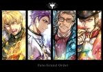 4boys alternate_costume armor beard black_border blonde_hair blue_eyes border brown_hair cape chain chest cigar closed_mouth collar copyright_name epaulettes eyebrows_visible_through_hair facial_hair fate/extra fate/grand_order fate_(series) feather_collar fighting_stance formal from_side gawain_(fate/extra) glasses gloves glowing goatee gradient_hair grey_hair hat highres holy_grail_(fate) james_moriarty_(fate/grand_order) knight knights_of_the_round_table_(fate) lancelot_(fate/grand_order) long_sleeves looking_at_viewer male_focus military military_uniform multicolored_hair multiple_boys mustache napoleon_bonaparte_(fate/grand_order) necktie open_mouth purple_hair sash sideburns smile smirk smoking sparkle tight uniform v vest violet_eyes weapon white_armor white_background yellow_eyes zuman_(zmnjo1440)