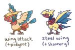 birb bird bird_focus character_name commentary creature english_commentary english_text full_body fusion gen_1_pokemon gen_2_pokemon no_humans pidgeot pokemon pokemon_(creature) simple_background skarmory white_background yoshida_nina
