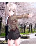1girl absurdres bangs black_skirt blonde_hair blurry blurry_background blush brown_jacket commentary_request eyebrows_visible_through_hair fate/kaleid_liner_prisma_illya fate_(series) frown highres ildy illyasviel_von_einzbern jacket long_hair long_sleeves looking_at_viewer outdoors pleated_skirt red_eyes skirt solo