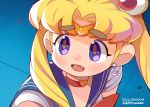 1girl artist_name bishoujo_senshi_sailor_moon blonde_hair blue_sailor_collar choker commentary_request copyright_name crescent crescent_hair_ornament derivative_work eyebrows_visible_through_hair fang hair_ornament happymaoo heart heart_choker long_hair open_mouth original red_choker sailor_collar sailor_moon sailor_moon_redraw_challenge sailor_senshi sailor_senshi_uniform screencap_redraw solo thick_eyebrows tsukino_usagi twintails upper_body violet_eyes
