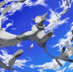 bird bird_focus blue_sky brown_eyes claws clouds cloudy_sky commentary creature day english_commentary flying full_body gen_5_pokemon no_humans outdoors pinkgermy pokemon pokemon_(creature) signature sky solo tranquill