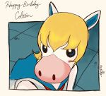 1boy animal_ears anthony_(doubutsu_no_mori) artist_name bishoujo_senshi_sailor_moon blonde_hair blue_eyes blue_sailor_collar blush_stickers character_name commentary_request cosplay doubutsu_no_mori hair_between_eyes happy_birthday horse horse_ears male_focus milly_(illst) sailor_collar sailor_moon sailor_moon_(cosplay) sailor_moon_redraw_challenge solo