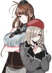 2girls ahoge braid braided_ponytail breasts brown_hair dsr-50_(girls_frontline) g36c_(girls_frontline) girls_frontline hair_over_one_eye hat heart highres iapoc large_breasts military military_hat military_jacket military_uniform multiple_girls red_eyes silver_hair uniform