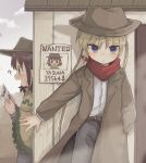 2girls belt blonde_hair blush brown_hair coat cowboy_hat hat highres hozonsui kill_me_baby long_hair multiple_girls oribe_yasuna overcoat pants poncho shirt short_hair sonya_(kill_me_baby) twintails wanted western