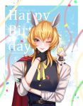 1boy absurdres animal_ears anthony_(doubutsu_no_mori) artist_name blonde_hair blue_eyes blush bow bowtie cape closed_eyes clouds dated doubutsu_no_mori furry gloves happy_birthday highres horse horse_ears humanization long_hair one_eye_closed personification petals sky solo sparkle yukinari_kyuxtu