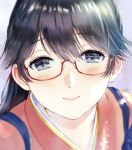 1girl bespectacled black_hair blue_eyes close-up eyebrows_visible_through_hair glasses highres houshou_(kantai_collection) japanese_clothes kantai_collection kimono magai_akashi ponytail red-framed_eyewear semi-rimless_eyewear smile solo tasuki