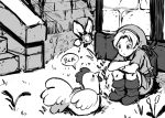 1boy bangs boots brick_wall building cucco day fairy fairy_wings flower greyscale highres hood knee_boots link looking_at_animal looking_away monochrome navi numbers_(boars) outdoors parted_bangs parted_lips shield short_sleeves sketch squatting stairs stone_stairs sword sword_behind_back the_legend_of_zelda the_legend_of_zelda:_ocarina_of_time tunic weapon weapon_on_back wings