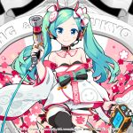 aqua_hair banner black_legwear bow bowtie cherry_blossoms copyright_name cowboy_shot detached_collar detached_sleeves dress goodsmile_racing haregi hatsune_miku headset highres holding impact_wrench japanese_clothes leg_up lena_(zoal) long_hair looking_at_viewer official_art piapro racing_miku racing_miku_(2020) shorts sleeveless sleeveless_dress smile smiley_face strapless strapless_dress thigh-highs thigh_tattoo twintails vocaloid white_dress white_sleeves