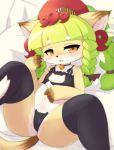 1girl :3 animal_ears animal_nose bell bell_collar black_legwear blush cat cat_ears cat_girl cat_lingerie cat_tail check_commentary collar collarbone commentary_request drunk fang fullbokko_heroes furry green_hair highres kushinada_(fullbokko_heroes) long_hair looking_at_viewer lying meme_attire navel on_back on_bed open_mouth pillow solo tail takeshi-kemo thigh-highs two-tone_fur white_fur yellow_eyes yellow_fur