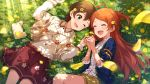blush brown_hair dress green_eyes idolmaster_million_live!_theater_days kinoshita_hinata oogami_tamaki short_hair smile wink