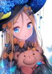 1girl abigail_williams_(fate/grand_order) animal bangs black_bow black_dress black_headwear blonde_hair blue_eyes blue_flower blurry blurry_background bow bug butterfly commentary_request depth_of_field dress fate/grand_order fate_(series) flower hair_between_eyes hair_bow hat hat_flower heart heart_in_eye insect lokyin_house long_hair long_sleeves looking_at_viewer object_hug orange_bow parted_bangs parted_lips polka_dot polka_dot_bow sleeves_past_fingers sleeves_past_wrists solo stuffed_animal stuffed_toy symbol_in_eye teddy_bear upper_body very_long_hair