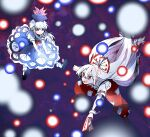 2girls amulet arm_up arms_up bangs black_footwear blue_dress blue_hair boots bow brown_footwear closed_mouth collar danmaku dress eyebrows_visible_through_hair eyes_visible_through_hair fujiwara_no_mokou gem hair_between_eyes hair_bow hands_up itomugi-kun jewelry kamishirasawa_keine long_hair looking_at_another multicolored_bow multiple_girls open_mouth pants puffy_short_sleeves puffy_sleeves purple_background red_bow red_eyes red_neckwear red_pants shirt shoes short_sleeves smile socks touhou white_bow white_hair white_legwear white_shirt white_sleeves