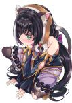 1girl animal_ear_fluff animal_ears arms_between_legs bare_shoulders black_hair bread cat_ears cat_girl cat_tail commentary_request detached_sleeves eyebrows_visible_through_hair food hair_between_eyes highres kaltoma karyl_(princess_connect!) long_hair looking_at_viewer low_twintails multicolored_hair princess_connect! princess_connect!_re:dive short_hair simple_background solo spread_legs squatting tail twintails two-tone_hair v-shaped_eyebrows white_background white_hair