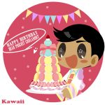 1boy :d birthday birthday_cake black_hair blush_stickers bow cake confetti dark_skin dark_skinned_male english_text food fruit grey_eyes happy_birthday highres kaorin_minogue male_focus open_mouth phichit_chulanont smile star star-shaped_pupils strawberry string_of_flags symbol-shaped_pupils thai_clothes yuri!!!_on_ice