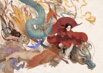 1girl 3boys 990512 animal arrow_(projectile) axe axis_powers_hetalia beard beige_background bird black_bird black_footwear bow_(weapon) brown_eyes brown_hair changpao china_(hetalia) chinese_clothes chinese_commentary collarbone commentary_request dragon eastern_dragon facial_hair fire full_body highres holding holding_axe holding_bow_(weapon) holding_weapon long_hair long_sleeves looking_away multiple_boys open_mouth pants peacock pointing ponytail shirtless simple_background tiger weapon white_pants white_tiger