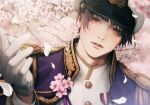 1boy 9ibem axis_powers_hetalia buttons cherry_blossoms collar collared_jacket epaulettes flower gloves hat highres indoors jacket japan_(hetalia) long_sleeves looking_at_viewer male_focus military military_hat military_jacket military_uniform open_clothes open_jacket parted_lips peaked_cap petals realistic red_eyes short_hair solo uniform upper_body white_gloves white_headwear