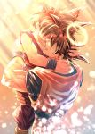 2boys backlighting black_hair blurry bokeh carrying collarbone crying depth_of_field dougi dragon_ball dragon_ball_z facing_away father_and_son fingernails gradient gradient_background hair_over_eyes halo hand_on_another's_back hand_on_another's_head hand_on_another's_neck highres hug lens_flare light_particles light_rays male_focus mattari_illust multiple_boys muscle noses_touching open_mouth pectorals profile sad smile sobbing son_gohan son_gokuu spiky_hair teeth twitter_username upper_body wristband