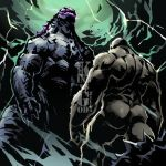 ape battle facing_down facing_up godzilla godzilla_(legendary) godzilla_(series) kaijuu king_kong king_kong_(character) kong lightning monster no_humans powering_up rivals size_difference source_request storm thunder