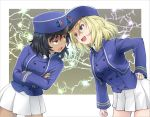 2girls andou_(girls_und_panzer) angry bc_freedom_military_uniform black_hair blonde_hair blue_eyes breasts brown_eyes commentary_request crossed_arms dark_skin girls_und_panzer hair_between_eyes hand_on_hip haniwa_(leaf_garden) hat highres kepi lightning_glare long_hair long_sleeves military military_uniform multiple_girls open_mouth oshida_(girls_und_panzer) pleated_skirt skirt uniform