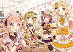 4girls :o ;d absurdres apron arm_up bangs bare_shoulders bendy_straw black_bow black_capelet black_dress blonde_hair blue_eyes blush bow brown_eyes brown_hair capelet closed_mouth commentary_request cup detached_sleeves dress drink drinking_glass drinking_straw earrings eyebrows_visible_through_hair flower food food_on_face frilled_apron frills gloves green_dress green_eyes green_hair green_sleeves hair_between_eyes hair_bow hair_ornament hairclip highres holding holding_spoon holding_tray indoors jewelry layered_skirt light_brown_hair long_hair long_sleeves maid_headdress menu multiple_girls object_hug official_art one_eye_closed open_mouth orange_bow original parfait parted_bangs pink_flower pink_rose puffy_short_sleeves puffy_sleeves rose sakura_oriko short_sleeves sitting skirt sleeveless sleeveless_dress smile spoon standing star star_hair_ornament tray twintails very_long_hair waitress watermark white_apron white_dress white_gloves wide_sleeves wrist_cuffs