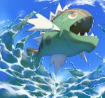basculin basculin_(red) blue_sky clouds commentary day english_commentary fish fish_focus gen_5_pokemon jumping open_mouth outdoors pinkgermy pokemon red_eyes sharp_teeth sky splashing teeth water
