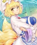 1girl bangs blonde_hair breasts brooch closed_mouth covered_nipples dress fox_tail hat highres huge_breasts jewelry light_smile long_sleeves looking_at_viewer medium_hair multiple_tails pillow_hat solo tabard tail touhou umigarasu_(kitsune1963) upper_body white_dress white_headwear wide_sleeves yakumo_ran yellow_eyes