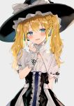 1girl black_headwear blonde_hair blue_eyes blush bow breasts eyebrows_visible_through_hair hair_ornament hat hat_bow looking_at_viewer original parted_lips puffy_short_sleeves puffy_sleeves satoupote short_sleeves small_breasts solo star star_hair_ornament sweatdrop twintails white_bow witch_hat
