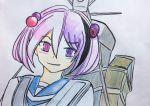 1girl blush dark_persona heterochromia highres kantai_collection kasakasagg pink_eyes pink_hair sazanami_(kantai_collection) school_uniform serafuku shinkaisei-kan violet_eyes
