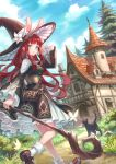 1girl absurdres animal_ears aqua_eyes bag bangs blush breasts bug butterfly cat dress flower hat hat_flower highres house insect large_breasts long_hair long_sleeves original rabbit_ears redhead scenery staff wide_sleeves witch witch_hat zoff_(daria)