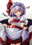 .sin 1girl animal bat bat_wings blue_hair brooch cowboy_shot dress frills gradient hat hat_ribbon highres jewelry looking_at_viewer medium_hair mob_cap open_mouth petticoat pointy_ears puffy_short_sleeves puffy_sleeves purple_hair red_eyes red_neckwear red_ribbon remilia_scarlet ribbon sash short_sleeves skirt_hold smile solo touhou white_background white_dress white_headwear wings wrist_cuffs