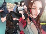 1boy 2girls aerith_gainsborough black_hair blonde_hair boots braid breasts brown_eyes brown_hair buster_sword cloud_strife final_fantasy final_fantasy_vii final_fantasy_vii_remake green_eyes kyuuakaku long_hair low-tied_long_hair medium_breasts multiple_girls pink_lips red_footwear sleeveless smile sword tank_top thigh-highs tifa_lockhart turtleneck twin_braids very_long_hair weapon
