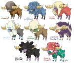 black_eyes blue_eyes bouffalant character_name closed_mouth clytemnon commentary creature english_commentary english_text florges florges_(red) full_body furfrou furfrou_(star) fusion gen_1_pokemon gen_4_pokemon gen_5_pokemon gen_6_pokemon gothitelle horns jynx multiple_fusions no_humans orange_eyes pokemon pokemon_(creature) simple_background skuntank standing tangrowth whimsicott white_background yellow_eyes