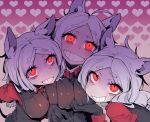 3girls absurdres ahoge animal_ears black_gloves breasts cerberus_(helltaker) collared_shirt eyebrows_visible_through_hair gloves grin heart heart_background helltaker highres karasu_raven large_breasts long_hair long_sleeves looking_at_viewer multiple_girls red_eyes red_shirt shirt smile teeth thick_eyebrows triplets vest white_hair