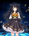 1girl absurdres bangs bare_shoulders black_hair closed_mouth collarbone commission dress eyebrows_visible_through_hair flower grey_eyes heterochromia highres holding holding_flower horns long_hair looking_at_viewer monster_girl original partially_submerged petals scales sky slit_pupils solo standing star_(sky) starry_sky sunflower tail water yaya_chan yellow_eyes