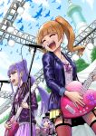 3girls :d aisaki_emiru bangs bird black_headwear blue_jacket blunt_bangs bracelet brown_hair day floating_hair from_below garter_straps guitar hair_bun hairband hat highres holding holding_instrument hugtto!_precure instrument itou_shin'ichi jacket jewelry long_hair long_sleeves microphone_stand miniskirt multiple_girls music nail_polish open_clothes open_jacket open_mouth outdoors pink_skirt playing_instrument pleated_skirt ponytail precure print_shirt purple_hair purple_jacket purple_nails red_legwear ruru_amour shiny shiny_hair shirt singing skirt smile standing thigh-highs twintails violet_eyes white_shirt yellow_skirt