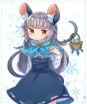 1girl alternate_hair_length alternate_hairstyle animal_ears basket blue_dress blush capelet clothing_request copyright_request dress earrings eyebrows_visible_through_hair flower gem grey_hair highres ibaraki_natou jewelry looking_at_viewer mouse mouse_ears mouse_girl mouse_tail nazrin open_mouth orange_eyes ring simple_background tagme tail touhou white_background