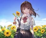 1girl aka_tonbo_(lovetow) bag black_skirt blue_sky bow bowtie brown_eyes brown_hair carrying closed_mouth clouds cloudy_sky daisy day dress_shirt eyebrows_visible_through_hair flower holding holding_flower looking_at_viewer medium_hair orange_scrunchie original outdoors plaid_neckwear pleated_skirt red_neckwear school_bag school_uniform scrunchie shirt short_sleeves skirt sky smile solo standing sunflower white_shirt wind wing_collar wrist_scrunchie