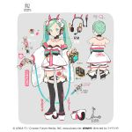 1girl aqua_eyes aqua_hair bare_back black_legwear bow bowtie character_sheet commentary crypton_future_media detached_collar detached_sleeves goodsmile_racing ground_vehicle hair_bow hair_ornament haregi hatsune_miku headset highres holding impact_wrench japanese_clothes kimono lena_(zoal) long_hair looking_at_viewer motor_vehicle piapro racing_miku racing_miku_(2020) scooter smile smiley_face thigh-highs thigh_tattoo translated twintails vocaloid wheel white_kimono white_sleeves zouri