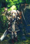 ariko_youichi armor blue_eyes fantasy forest highres monster multiple_girls nature pointy_ears red_eyes red_hair redhead riding short_hair silver_hair sword weapon yohichi_ariko